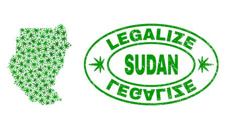 Vektor-Cannabis-Sudan-Kartencollage und Grunge strukturierte Stempelsiegel legalisieren. Konzept mit grünen Unkrautblättern. Konzept für die Cannabis-Legalisierungskampagne. Vektor-Sudan-Karte besteht aus Unkrautblättern. Vektorgrafik