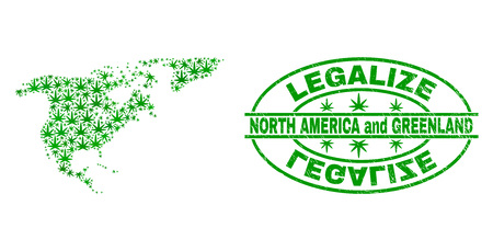 Vector cannabis North America and Greenland map collage and grunge textured Legalize stamp seal. Concept with green weed leaves. Concept for cannabis legalize campaign.