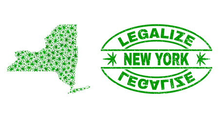 Vector cannabis New York State map collage and grunge textured Legalize stamp seal. Concept with green weed leaves. Concept for cannabis legalize campaign.