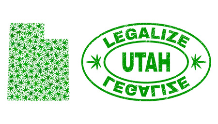 Vector marijuana Utah State map mosaic and grunge textured Legalize stamp seal. Concept with green weed leaves. Concept for cannabis legalize campaign. Illustration