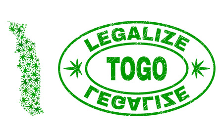 Vector cannabis Togo map collage and grunge textured Legalize stamp seal. Concept with green weed leaves. Concept for cannabis legalize campaign. Vector Togo map is organized with ganja leaves. Ilustração Vetorial
