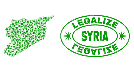 Vector cannabis Syria map collage and grunge textured Legalize stamp seal. Concept with green weed leaves. Template for cannabis legalize campaign. Vector Syria map is organized with weed leaves.