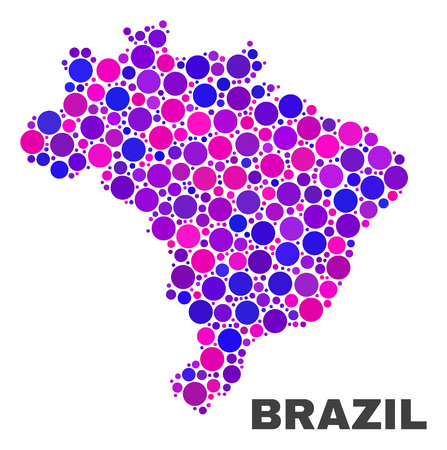 Mosaic Brazil map isolated on a white background. Vector geographic abstraction in pink and violet colors. Mosaic of Brazil map combined of scattered circle items.