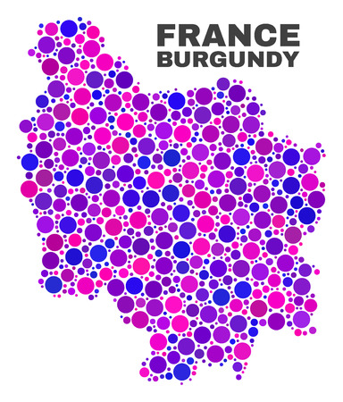 Mosaic Burgundy Province map isolated on a white background. Vector geographic abstraction in pink and violet colors. Mosaic of Burgundy Province map combined of scattered circle points.