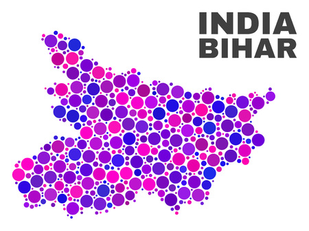 Mosaic Bihar State map isolated on a white background. Vector geographic abstraction in pink and violet colors. Mosaic of Bihar State map combined of random round points. Illustration