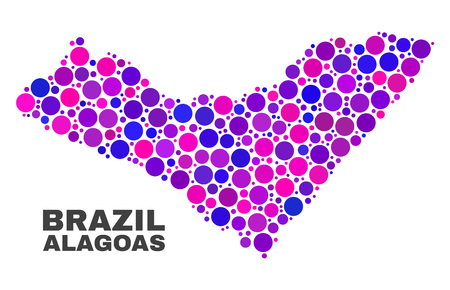 Mosaic Alagoas State map isolated on a white background. Vector geographic abstraction in pink and violet colors. Mosaic of Alagoas State map combined of random spheric items.