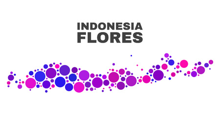Mosaic Flores Islands of Indonesia map isolated on a white background. Vector geographic abstraction in pink and violet colors. 向量圖像