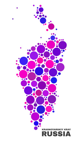 Mosaic Krasnoyarskiy Kray map isolated on a white background. Vector geographic abstraction in pink and violet colors. Mosaic of Krasnoyarskiy Kray map combined of scattered round elements.