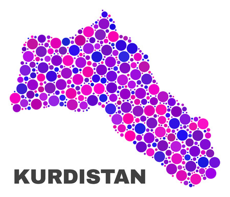 Mosaic Kurdistan map isolated on a white background. Vector geographic abstraction in pink and violet colors. Mosaic of Kurdistan map combined of random spheric elements. 일러스트