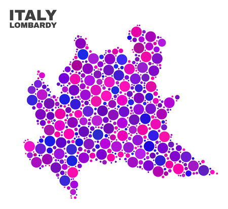 Mosaic Lombardy region map isolated on a white background. Vector geographic abstraction in pink and violet colors. Mosaic of Lombardy region map combined of scattered round points.
