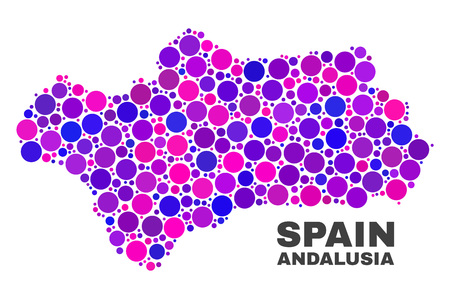 Mosaic Andalusia Province map isolated on a white background. Vector geographic abstraction in pink and violet colors. Mosaic of Andalusia Province map combined of scattered round elements.