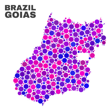 Mosaic Goias State map isolated on a white background. Vector geographic abstraction in pink and violet colors. Mosaic of Goias State map combined of scattered spheric elements. Ilustração