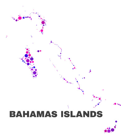 Mosaic Bahamas Islands map isolated on a white background. Vector geographic abstraction in pink and violet colors. Mosaic of Bahamas Islands map combined of random spheric items.