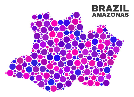 Mosaic Amazonas State map isolated on a white background. Vector geographic abstraction in pink and violet colors. Mosaic of Amazonas State map combined of scattered circle points. Ilustração