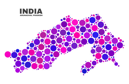 Mosaic Arunachal Pradesh State map isolated on a white background. Vector geographic abstraction in pink and violet colors. Mosaic of Arunachal Pradesh State map combined of random round points. Illustration
