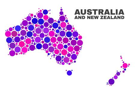 Mapa de Australia y Nueva Zelanda mosaico aislado sobre fondo blanco. Vector de abstracción geográfica en colores rosa y violeta.