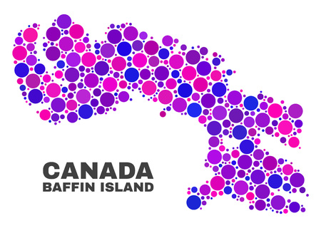 Mosaic Baffin Island map isolated on a white background. Vector geographic abstraction in pink and violet colors. Mosaic of Baffin Island map combined of random circle dots.