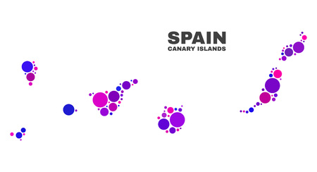 Mosaic Canary Islands map isolated on a white background. Vector geographic abstraction in pink and violet colors. Mosaic of Canary Islands map combined of random spheric dots. Ilustração