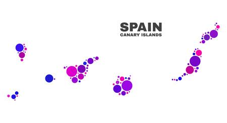 Mozaika Mapa Wyspy Kanaryjskie samodzielnie na białym tle. Abstrakcja geograficzna wektor w kolorach różowym i fioletowym. Mapa mozaiki Wysp Kanaryjskich połączona z losowymi kulistymi kropkami.