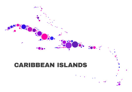 Mosaic Caribbean Islands map isolated on a white background. Vector geographic abstraction in pink and violet colors. Mosaic of Caribbean Islands map combined of random round elements.