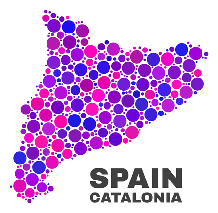 Mosaic Catalonia map isolated on a white background. Vector geographic abstraction in pink and violet colors. Mosaic of Catalonia map combined of scattered circle elements. Illustration