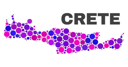 Mosaic Crete map isolated on a white background. Vector geographic abstraction in pink and violet colors. Mosaic of Crete map combined of random round items.  イラスト・ベクター素材