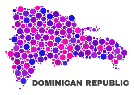 Mosaic Dominican Republic map isolated on a white background. Vector geographic abstraction in pink and violet colors. Mosaic of Dominican Republic map combined of random circle elements.