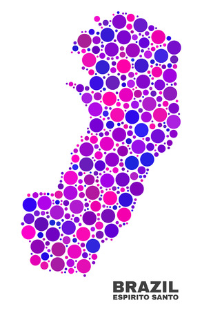 Mosaic Espirito Santo State map isolated on a white background. Vector geographic abstraction in pink and violet colors. Mosaic of Espirito Santo State map combined of scattered circle points.