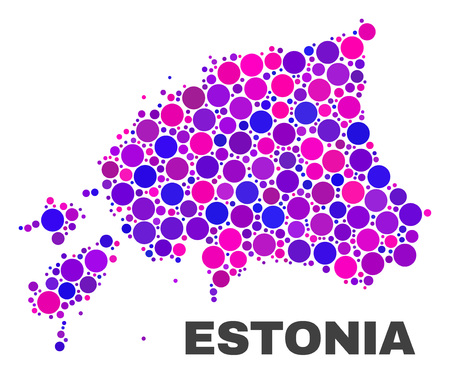 Mosaic Estonia map isolated on a white background. Vector geographic abstraction in pink and violet colors. Mosaic of Estonia map combined of random spheric points.