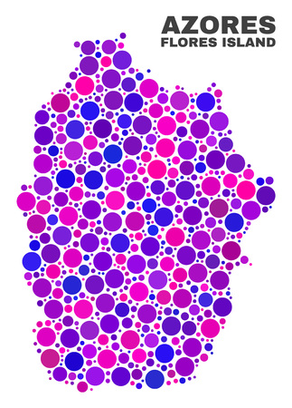 Mosaic Flores Island of Azores map isolated on a white background. Vector geographic abstraction in pink and violet colors. Mosaic of Flores Island of Azores map combined of random circle items. 向量圖像