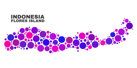 Mosaic Flores Island of Indonesia map isolated on a white background. Vector geographic abstraction in pink and violet colors. 向量圖像