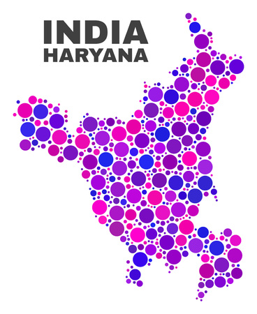 Mosaic Haryana State map isolated on a white background. Vector geographic abstraction in pink and violet colors. Mosaic of Haryana State map combined of random spheric items.