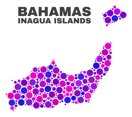 Mosaic Inagua Islands map isolated on a white background. Vector geographic abstraction in pink and violet colors. Mosaic of Inagua Islands map combined of scattered circle elements.