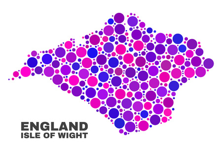 Mosaic Isle of Wight map isolated on a white background. Vector geographic abstraction in pink and violet colors. Mosaic of Isle of Wight map combined of scattered circle points.