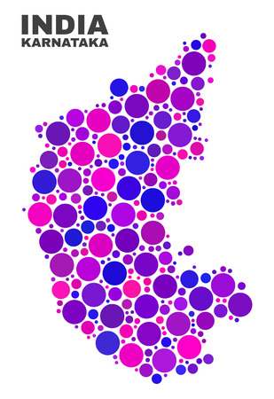 Mosaic Karnataka State map isolated on a white background. Vector geographic abstraction in pink and violet colors. Mosaic of Karnataka State map combined of scattered spheric dots.