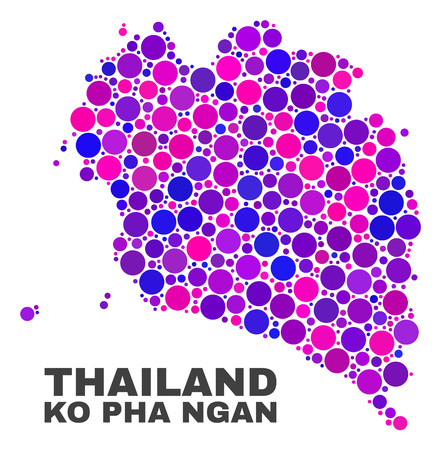 Mosaic Ko Pha Ngan map isolated on a white background. Vector geographic abstraction in pink and violet colors. Mosaic of Ko Pha Ngan map combined of random circle dots.