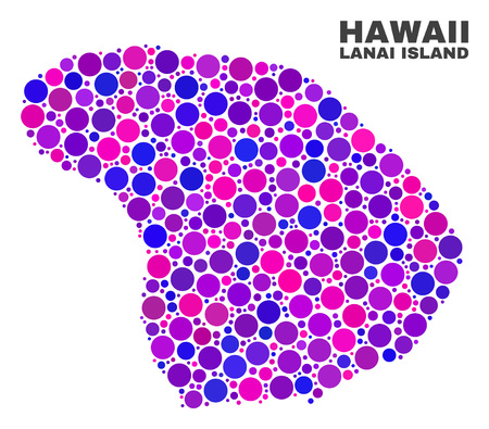 Mosaic Lanai Island map isolated on a white background. Vector geographic abstraction in pink and violet colors. Mosaic of Lanai Island map combined of random circle elements. Vector Illustration