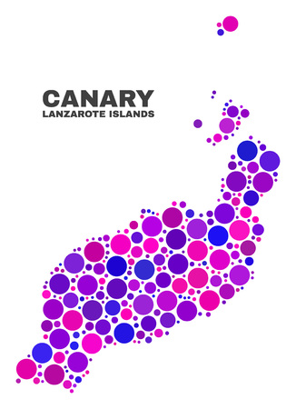 Mosaic Lanzarote Islands map isolated on a white background. Vector geographic abstraction in pink and violet colors. Mosaic of Lanzarote Islands map combined of random round items.