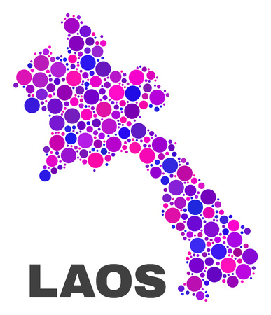 Mosaic Laos map isolated on a white background. Vector geographic abstraction in pink and violet colors. Mosaic of Laos map combined of scattered round dots. Ilustração