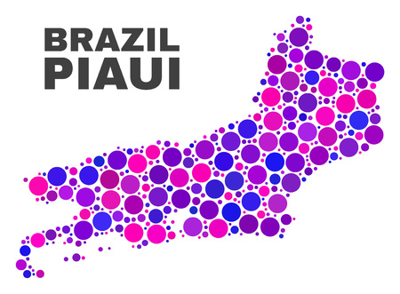 Mosaic Piaui State map isolated on a white background. Vector geographic abstraction in pink and violet colors. Mosaic of Piaui State map combined of random spheric elements. Ilustração