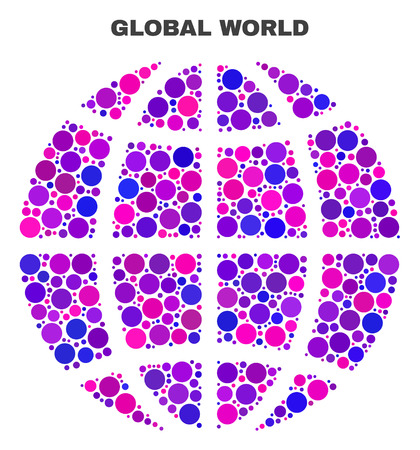 Mosaic Planet globe isolated on a white background. Vector geographic abstraction in pink and violet colors. Mosaic of Planet globe combined of random spheric items.