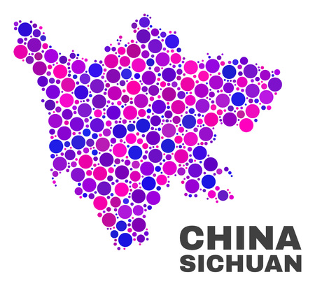 Mosaic Sichuan Province map isolated on a white background. Vector geographic abstraction in pink and violet colors. Mosaic of Sichuan Province map combined of scattered round elements.