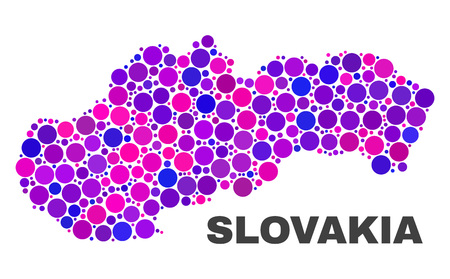 Mosaic Slovakia map isolated on a white background. Vector geographic abstraction in pink and violet colors. Mosaic of Slovakia map combined of random circle items. Ilustração