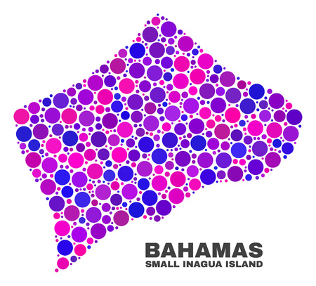 Mosaic Small Inagua Island map isolated on a white background. Vector geographic abstraction in pink and violet colors. Mosaic of Small Inagua Island map combined of random circle elements.