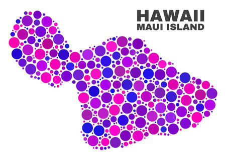 Mosaic Maui Island map isolated on a white background. Vector geographic abstraction in pink and violet colors. Mosaic of Maui Island map combined of scattered spheric elements. Illustration