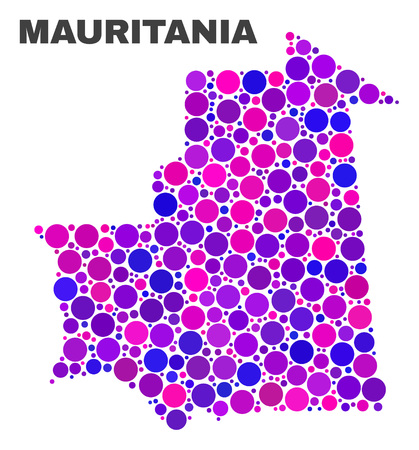 Mosaic Mauritania map isolated on a white background. Vector geographic abstraction in pink and violet colors. Mosaic of Mauritania map combined of random spheric items.