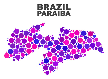 Mosaic Paraiba State map isolated on a white background. Vector geographic abstraction in pink and violet colors. Mosaic of Paraiba State map combined of random circle items.