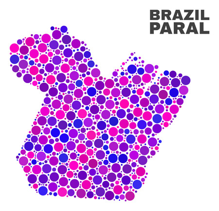 Mosaic Paral State map isolated on a white background. Vector geographic abstraction in pink and violet colors. Mosaic of Paral State map combined of scattered round items.
