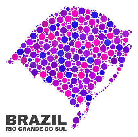 Mosaic Rio Grande do Sul State map isolated on a white background. Vector geographic abstraction in pink and violet colors. Mosaic of Rio Grande do Sul State map combined of scattered round dots.