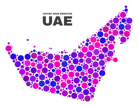 Mosaic United Arab Emirates map isolated on a white background. Vector geographic abstraction in pink and violet colors. Mosaic of United Arab Emirates map combined of scattered spheric dots.